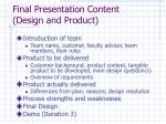 final presentation content design and product