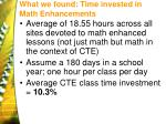 what we found time invested in math enhancements