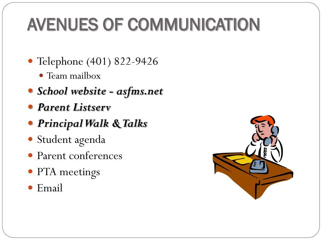 AVENUES OF COMMUNICATION