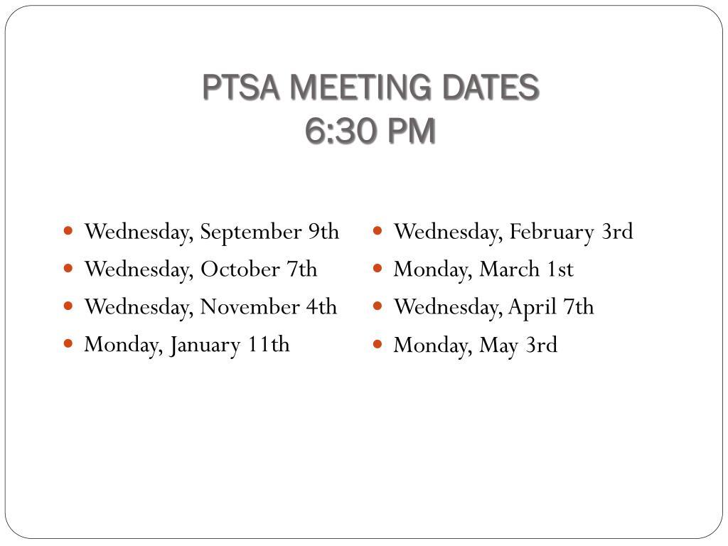 PTSA MEETING DATES