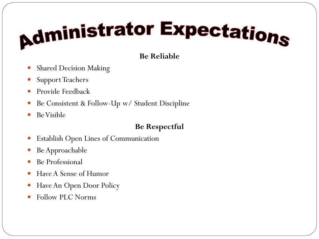 Administrator Expectations
