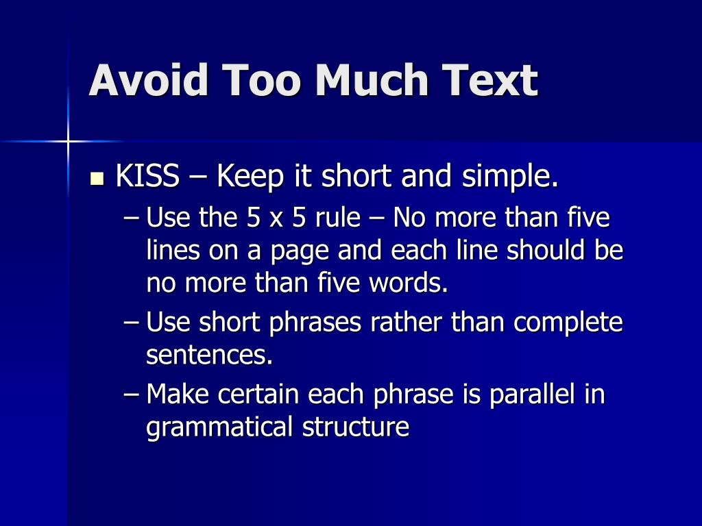 Avoid Too Much Text