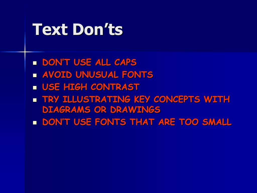 Text Don'ts
