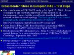 cross border fibres in european r e first steps