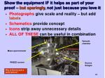 show the equipment if it helps as part of your proof but sparingly not just because you love it