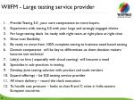 wiifm large testing service provider