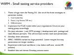 wiifm small testing service providers