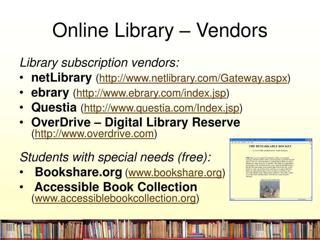 Online Library – Vendors