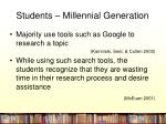 students millennial generation
