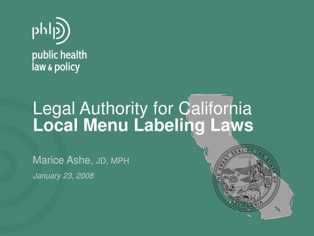 legal authority for california local menu labeling laws l.