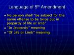 language of 5 th amendment
