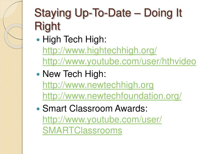Staying Up-To-Date – Doing It Right