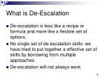 what is de escalation