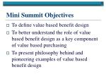 mini summit objectives