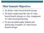 mini summit objectives