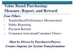value based purchasing measure report and reward
