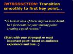 introduction transition smoothly to first key point