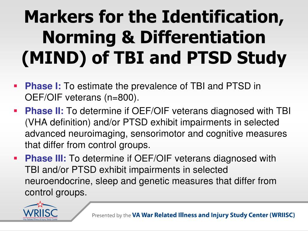 Markers for the Identification, Norming & Differentiation (MIND) of TBI and PTSD Study