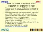 how do these standards work together for digital libraries