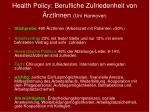 health policy berufliche zufriedenheit von rztinnen uni hannover