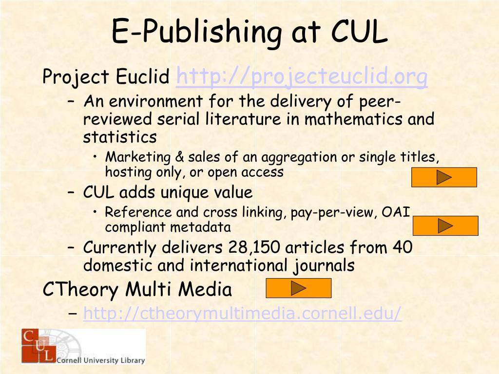 E-Publishing at CUL