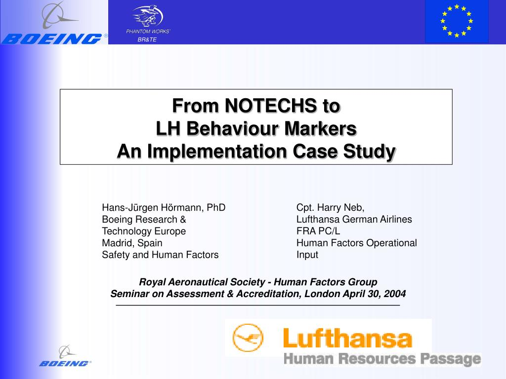 from notechs to lh behaviour markers an implementation case study l.