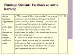 findings students feedback on active learning