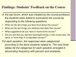 findings students feedback on the course