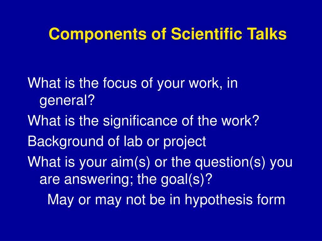 Components of Scientific Talks