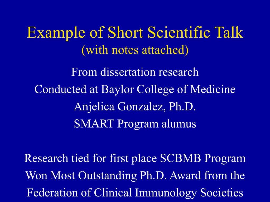 Example of Short Scientific Talk