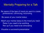 mentally preparing for a talk