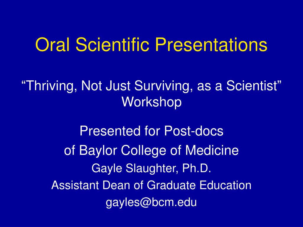 oral scientific presentations l.