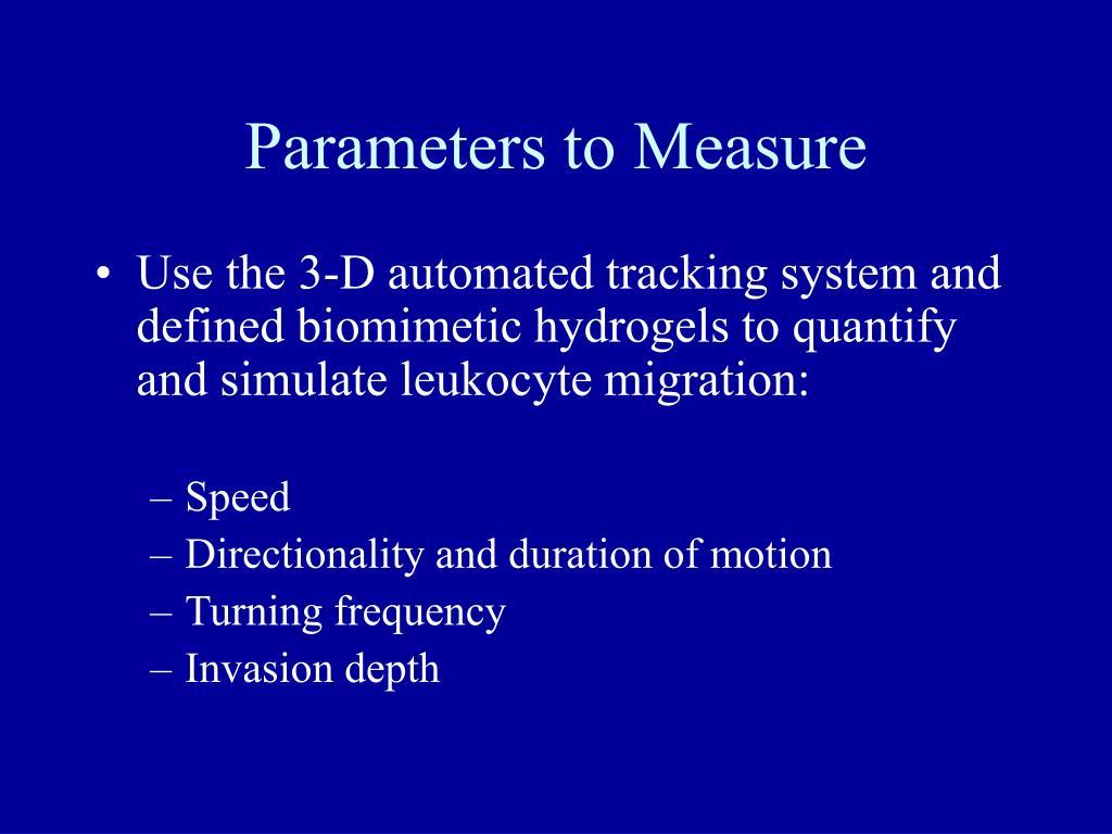 Parameters to Measure