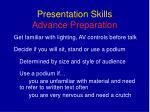 presentation skills advance preparation