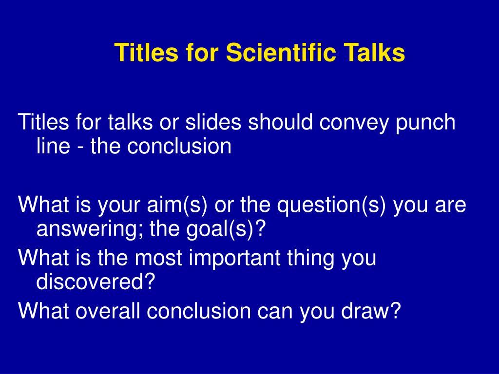 Titles for Scientific Talks