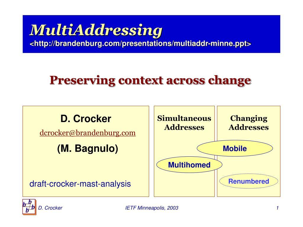 multiaddressing http brandenburg com presentations multiaddr minne ppt l.