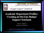 academic department profiles creating an on line budget support notebook