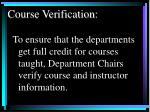 course verification