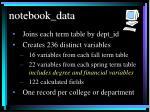notebook data