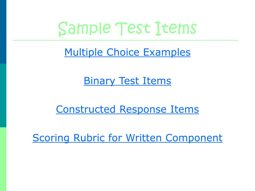 Sample Test Items