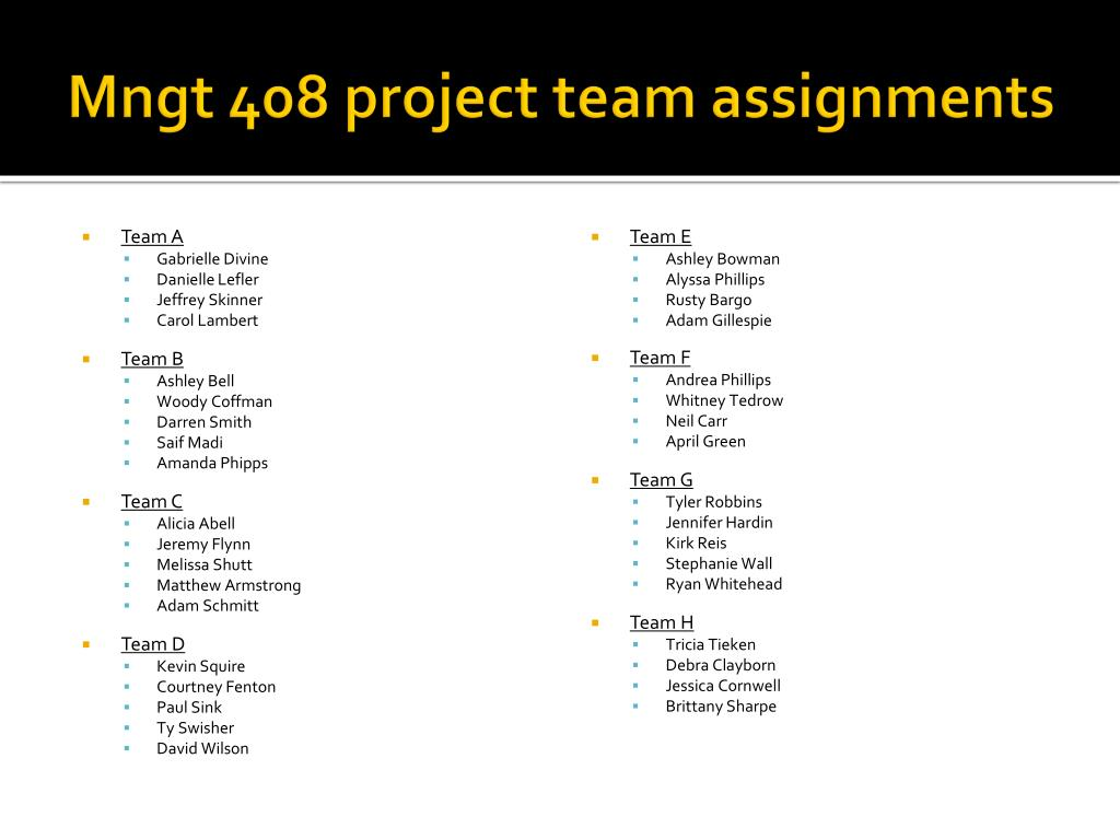 mngt 408 project team assignments l.