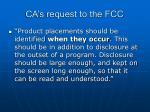 ca s request to the fcc