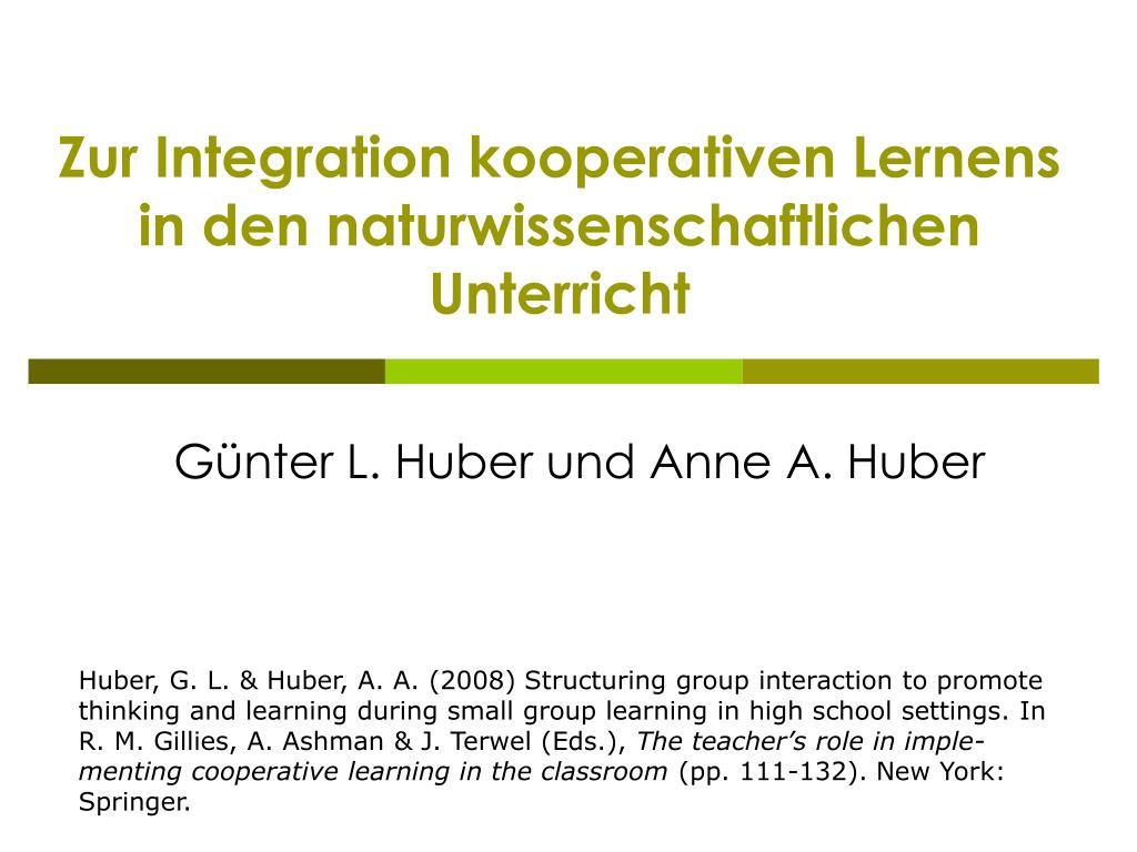 zur integration kooperativen lernens in den naturwissenschaftlichen unterricht l.
