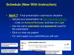 schedule new with instruction