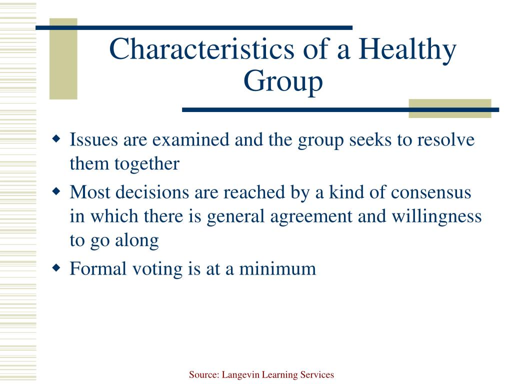 Characteristics of a Healthy Group
