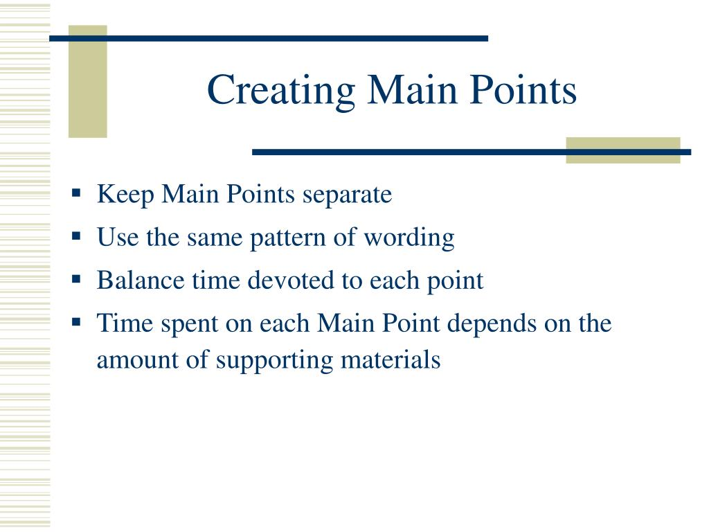 Creating Main Points