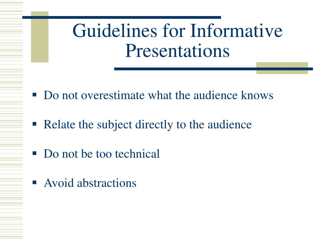 Guidelines for Informative Presentations