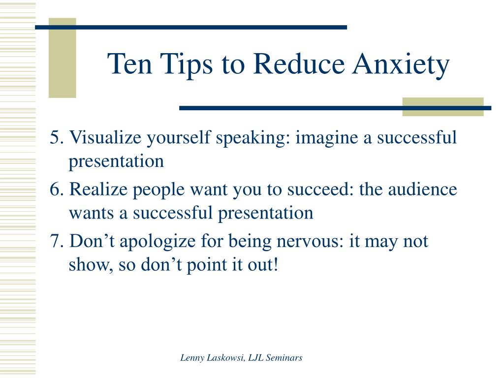 Ten Tips to Reduce Anxiety