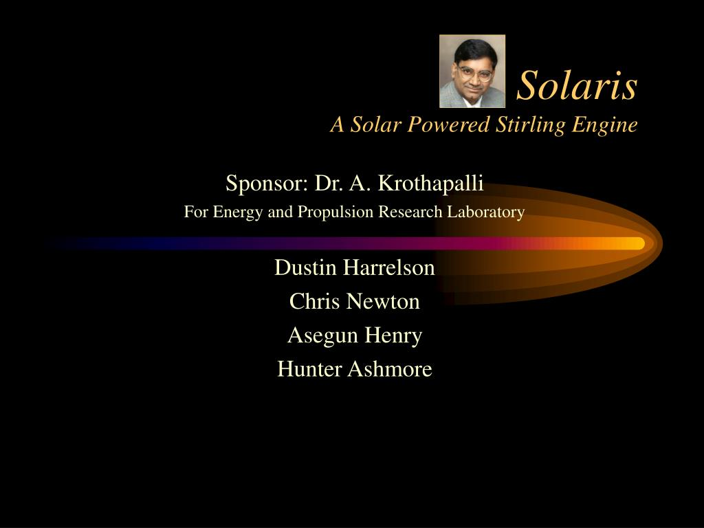 solaris a solar powered stirling engine l.