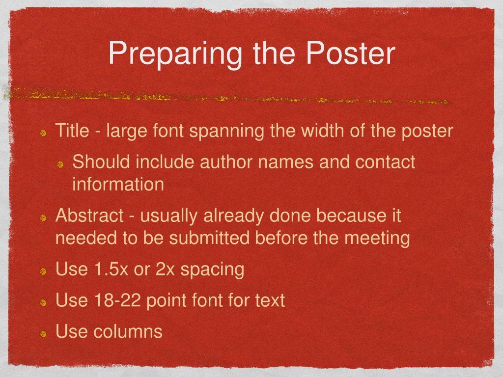 Preparing the Poster